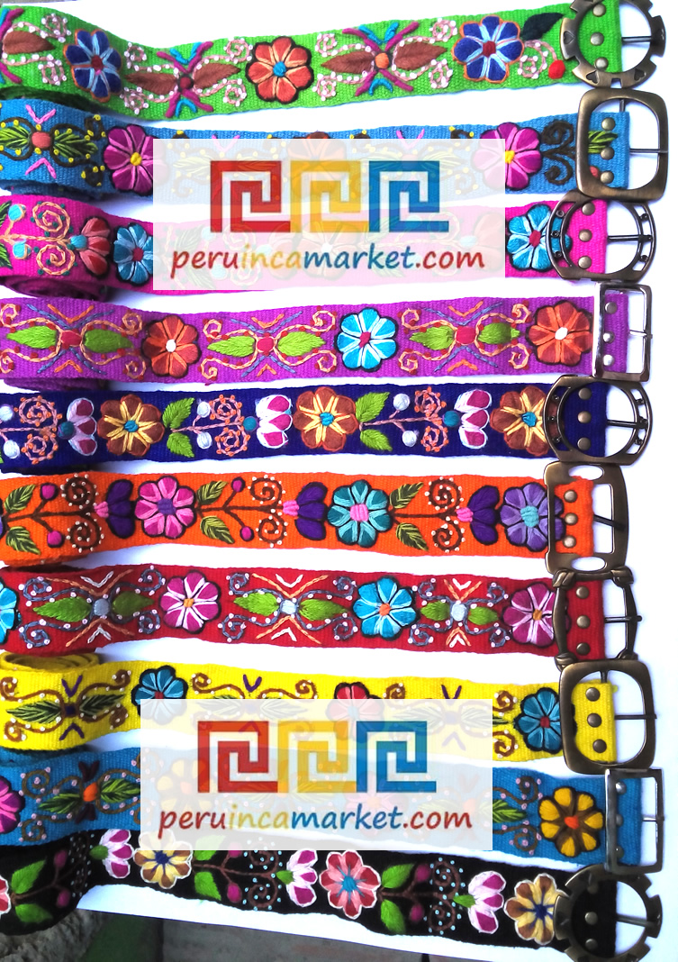 Peruvian embroidered belts sheep wool