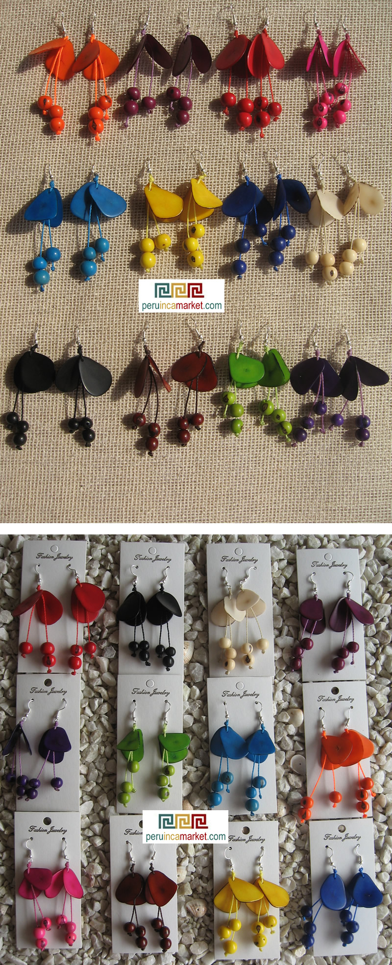 Tagua and acai earrings